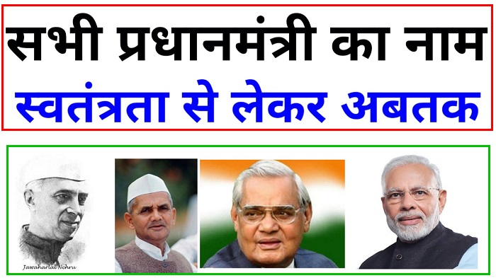 List of all Prime Ministers of India till Today