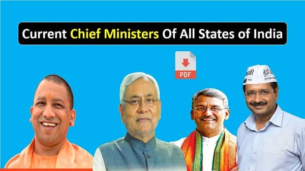 List of Current Chief Ministers in India PDF Download
